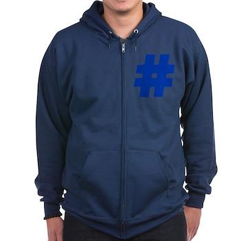 Blue #Hashtag Dark Zip Hoodie