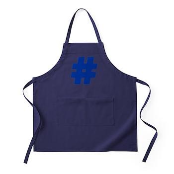 Blue #Hashtag Dark Apron