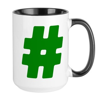 Green #Hashtag Large Mug