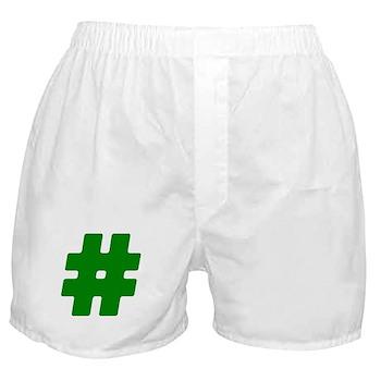 Green #Hashtag Boxer Shorts