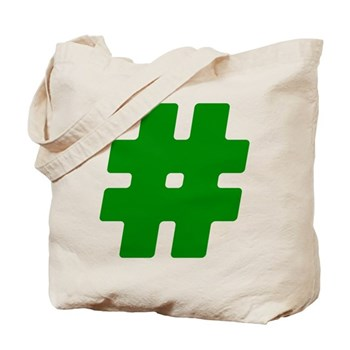 Green #Hashtag Tote Bag