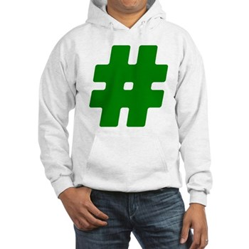 Green #Hashtag Hooded Sweatshirt