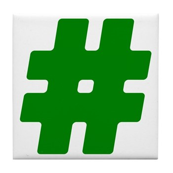 Green #Hashtag Tile Coaster