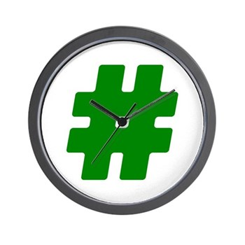 Green #Hashtag Wall Clock