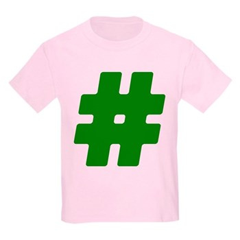 Green #Hashtag Kids Light T-Shirt