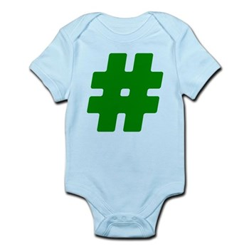 Green #Hashtag Infant Bodysuit