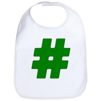Green #Hashtag Bib