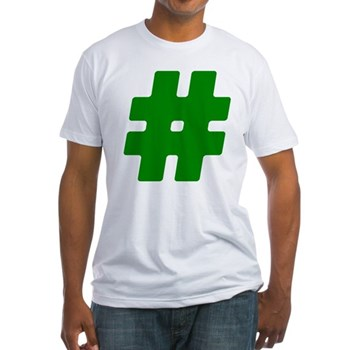 Green #Hashtag Fitted T-Shirt