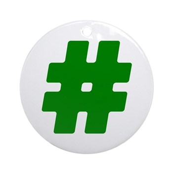 Green #Hashtag Round Ornament