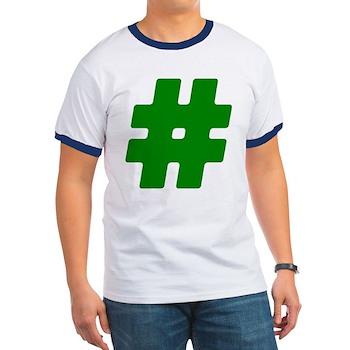 Green #Hashtag Ringer T-Shirt