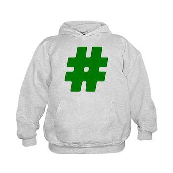 Green #Hashtag Kid's Hoodie
