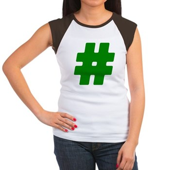 Green #Hashtag Women's Cap Sleeve T-Shirt