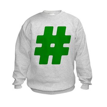 Green #Hashtag Kids Sweatshirt