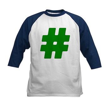 Green #Hashtag Kids Baseball Jersey