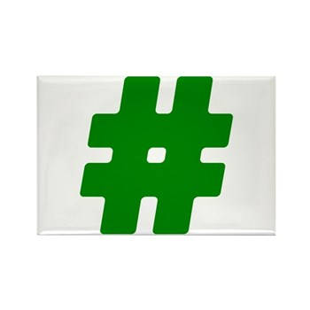 Green #Hashtag Rectangle Magnet