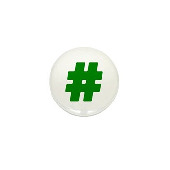 Green #Hashtag Mini Button