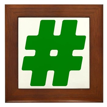Green #Hashtag Framed Tile