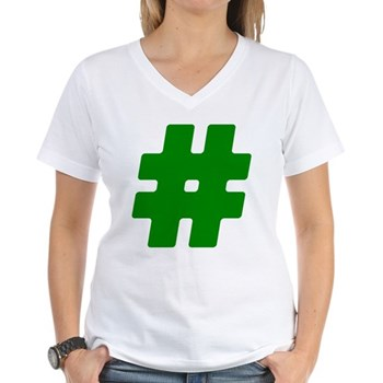 Green #Hashtag Women's V-Neck T-Shirt
