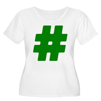 Green #Hashtag Women's Plus Size Scoop Neck T-Shir