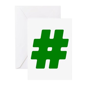 Green #Hashtag Greeting Cards (20 pack)