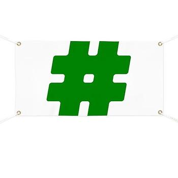 Green #Hashtag Banner