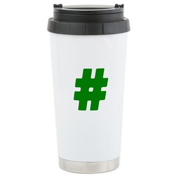 Green #Hashtag Stainless Steel Travel Mug
