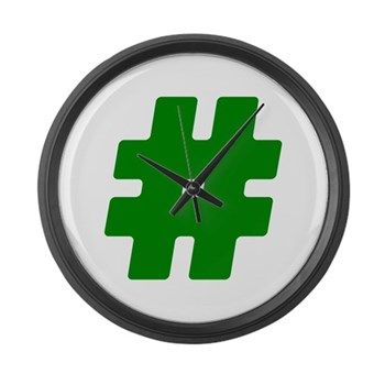 Green #Hashtag Large Wall Clock