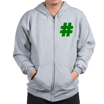 Green #Hashtag Zip Hoodie