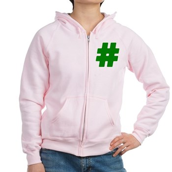 Green #Hashtag Women's Zip Hoodie
