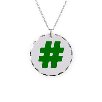 Green #Hashtag Necklace Circle Charm