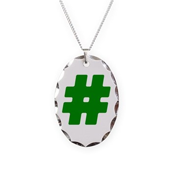 Green #Hashtag Necklace Oval Charm