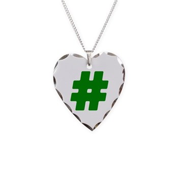 Green #Hashtag Necklace Heart Charm