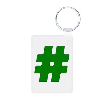 Green #Hashtag Aluminum Photo Keychain