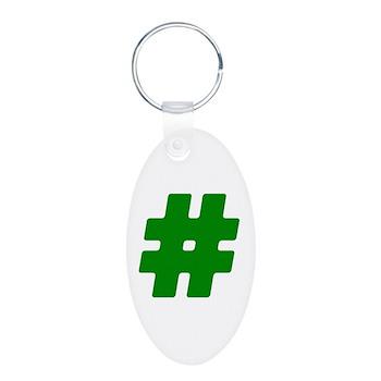 Green #Hashtag Aluminum Oval Keychain