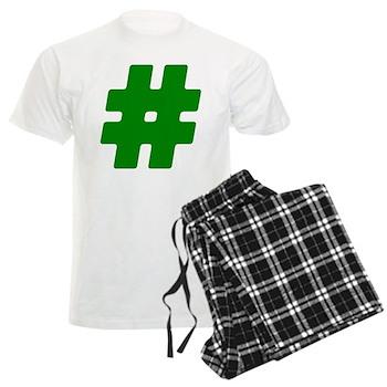 Green #Hashtag Men's Light Pajamas