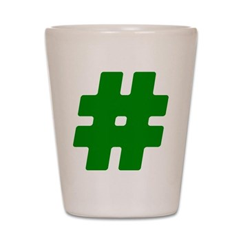 Green #Hashtag Shot Glass