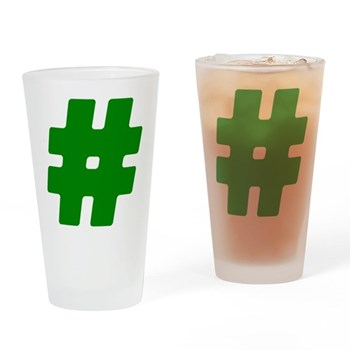 Green #Hashtag Drinking Glass