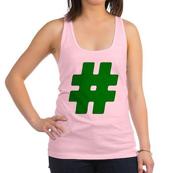 Green #Hashtag Racerback Tank Top