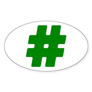 Green #Hashtag Oval Sticker