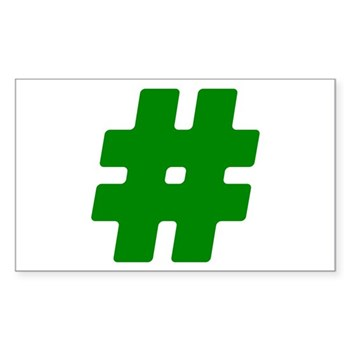 Green #Hashtag Rectangle Sticker