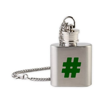 Green #Hashtag Flask Necklace
