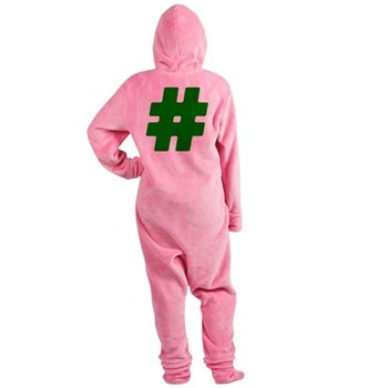 Green #Hashtag Footed Pajamas