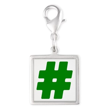 Green #Hashtag Silver Square Charm