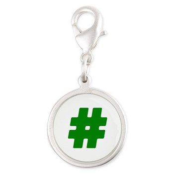 Green #Hashtag Silver Round Charm