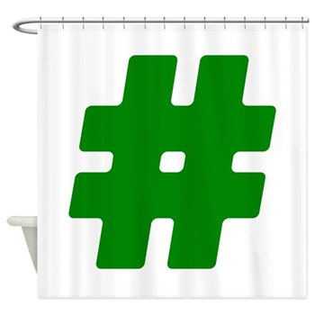 Green #Hashtag Shower Curtain