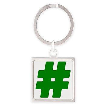 Green #Hashtag Square Keychain
