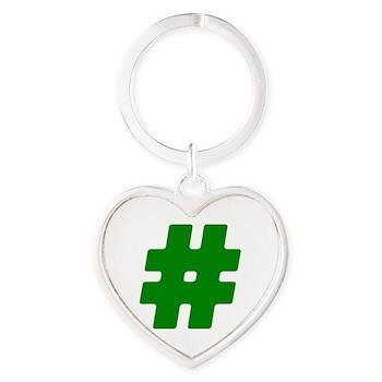 Green #Hashtag Heart Keychain