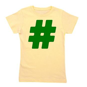 Green #Hashtag Girl's Tee