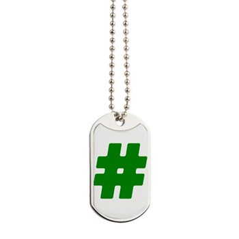Green #Hashtag Dog Tags