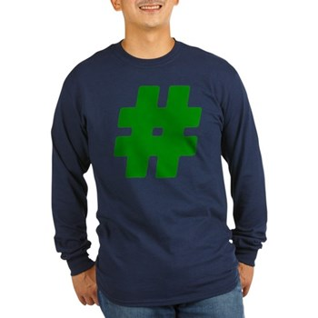 Green #Hashtag Long Sleeve Dark T-Shirt